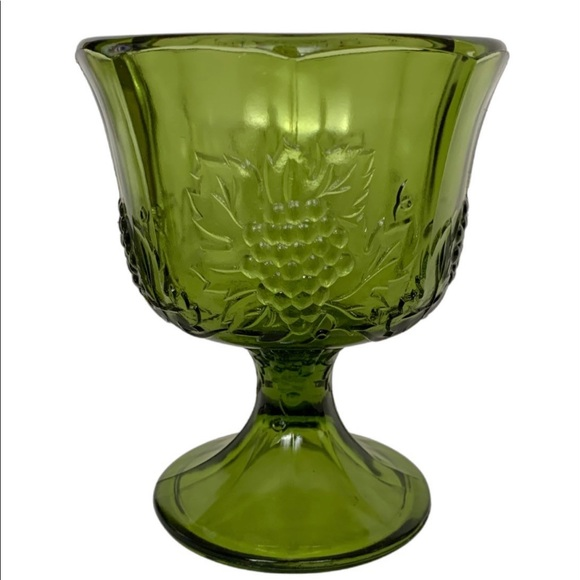 Vintage Indiana Glass Compote Pedestal Dish Green